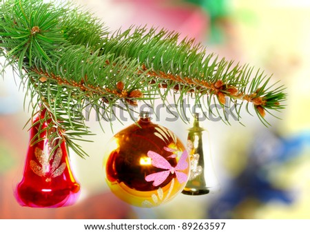 Christmas and New Year decoration-balls on fir tree. - stock photo