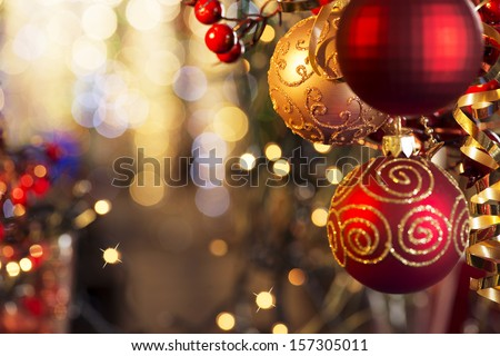 Christmas and New Year Decoration. Bauble on Christmas Tree. Shallow DOF - stock photo