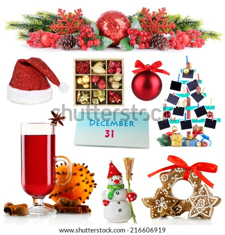 Christmas and New Year decoration collection - stock photo