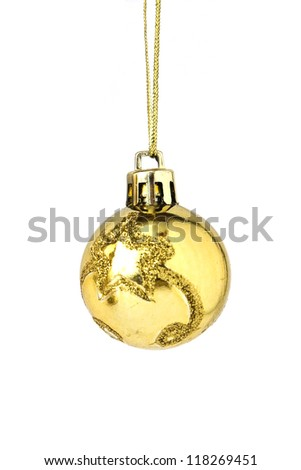 Christmas and new year decoration - golden bauble isolated on white background