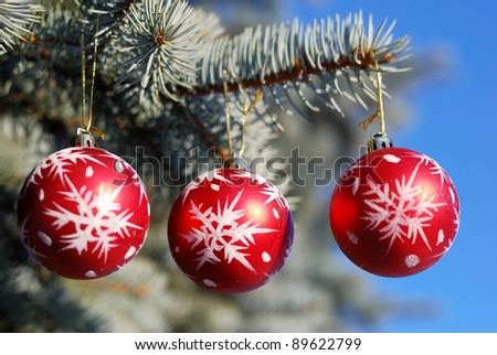 Christmas and New Year decoration - red balls on forest background - stock photo