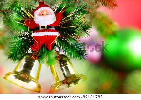 Christmas and New Year decoration-Santa Claus and Jingle Bells. Isolated - stock photo