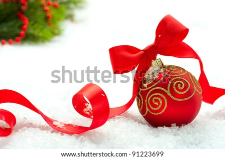 Christmas and New Year Decorations.Bauble - stock photo