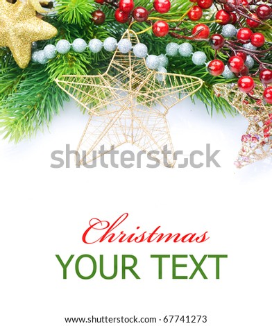 Christmas and New Year Decorations border over white - stock photo