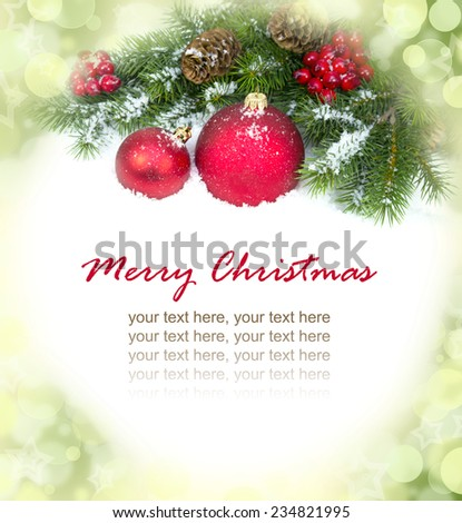 Christmas and New Year Decorations isolated on a bright background.  - stock photo