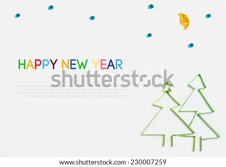 Christmas and New Year decorations made of paper quilling with space for greetings - stock photo