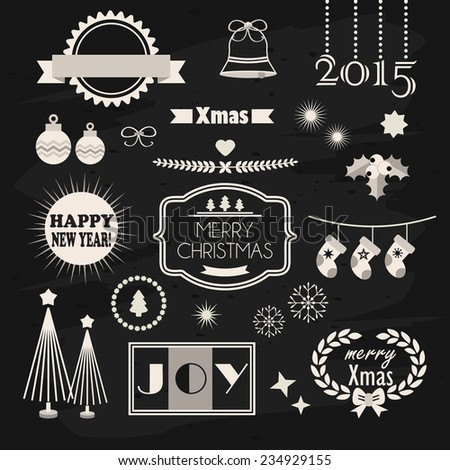 Christmas and New Year design and decoration elements set on chalkboard texture background - stock photo