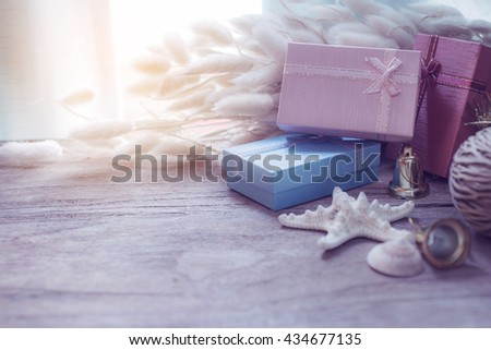 Christmas and New Year garland on rustic wooden background with copy space ,retro style toned picture - stock photo