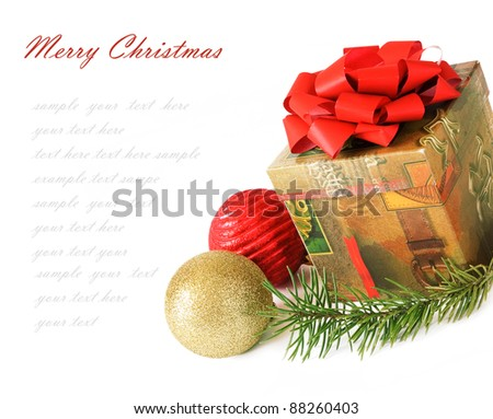 Christmas and New Year gift isolated on white with sample text - stock photo