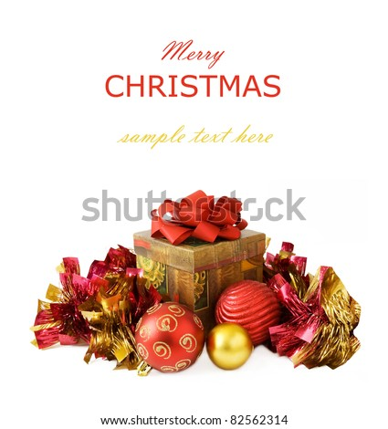 Christmas and New Year gifts isolated on white with sample text - stock photo
