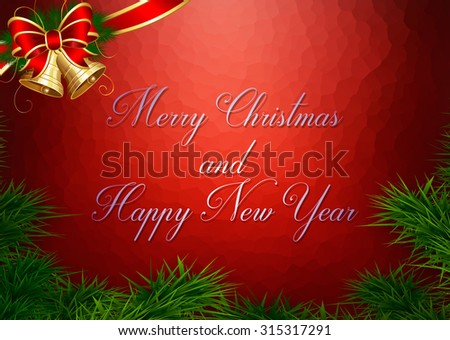 Christmas and New Year greeting card - stock photo