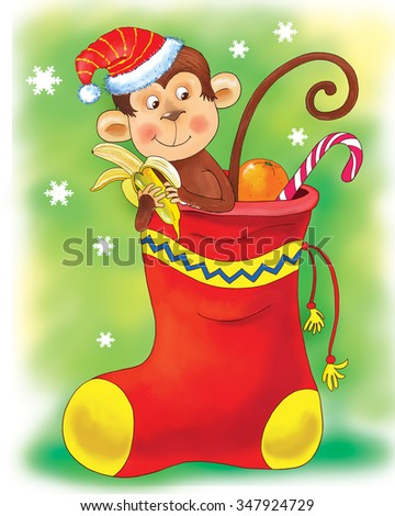 Christmas and New Year greeting card. Christmas sock. A cute funny monkey wearing a Christmas cap is sitting in a sock full of Christmas gifts, oranges and candies eating a banana. Cartoon character - stock photo