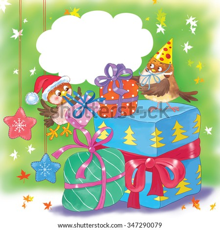 Christmas and New Year greeting card. Two cute sparrows wearing Christmas caps are enjoying their presents. Speech bubble with free space for your text. Illustration for children. Cartoon character. - stock photo