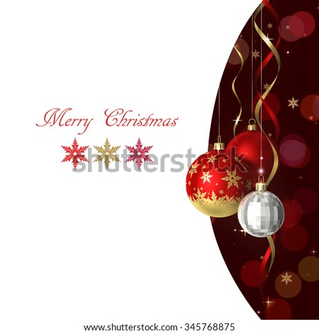 Christmas and new year greeting card with baubles and place for text - stock photo