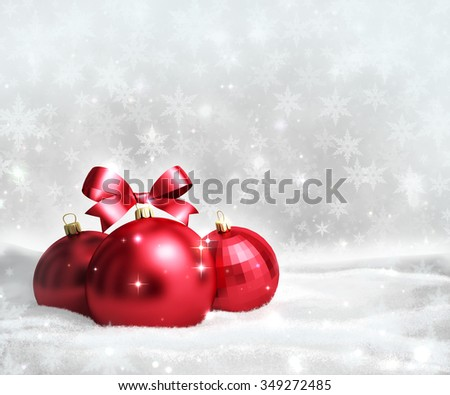 Christmas and new year greeting card with red balls on snow and space for text - stock photo