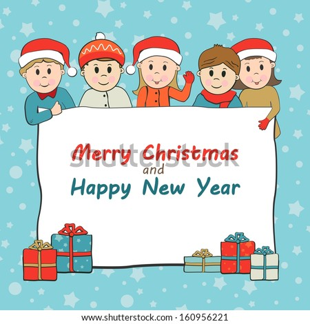 Christmas and New Year  Greeting concept with kids wearing Santa cap - stock photo