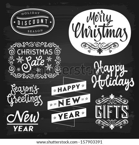 Christmas and New Year greetings badges on chalkboard. Raster version. - stock photo