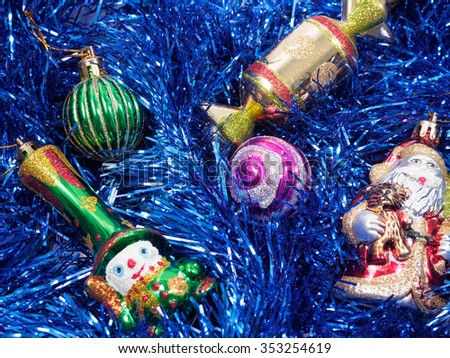 Christmas and New Year holiday decorations with fur-tree and toys