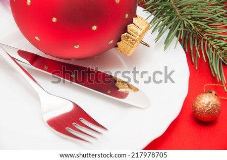 Christmas And New Year Holiday Table Setting-Holiday decoration - stock photo