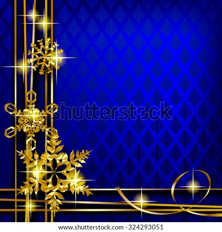 Christmas and New-Year's greeting card with blue background and gold foil snowflakes. - stock photo
