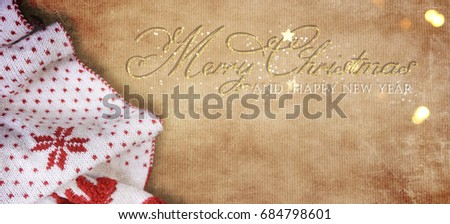 Christmas and New Year s holiday background with blanket, Winter season