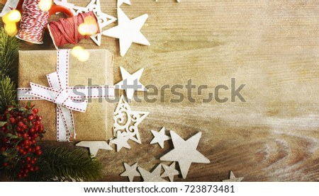 Christmas and New Year s holiday background with copy space