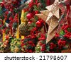 christmas and new year's market with decorative ornaments in barcelona - stock photo