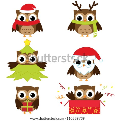 Christmas and New Year's owls in funny costumes. Raster version. - stock photo