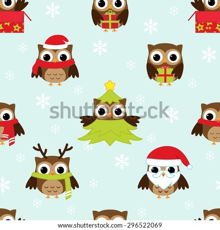 Christmas and New Year's pattern with owls in funny costumes. Raster version - stock photo
