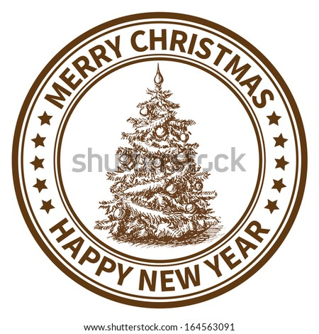 Christmas and New Year stamp with the Christmas tree. Raster version - stock photo