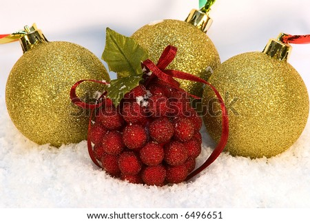 Christmas and New Year toys in snow - stock photo