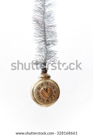Christmas and new year vintage decoration hanging isolated on white background - stock photo