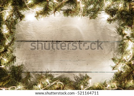 Christmas and new year wooden background with symbolic decoration