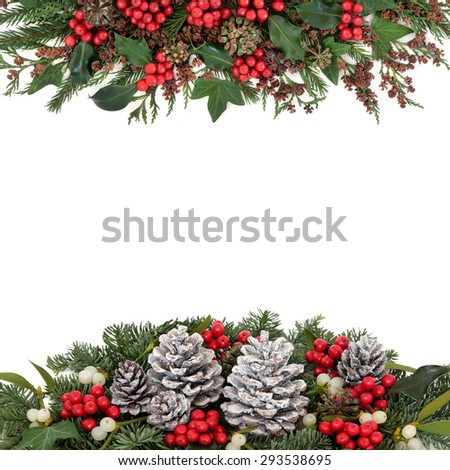 Christmas and winter flora with holly and red berries, mistletoe, ivy, snow covered pine cones, fir and traditional greenery over white background. - stock photo