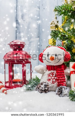 Christmas and Xmas decoration with snow
