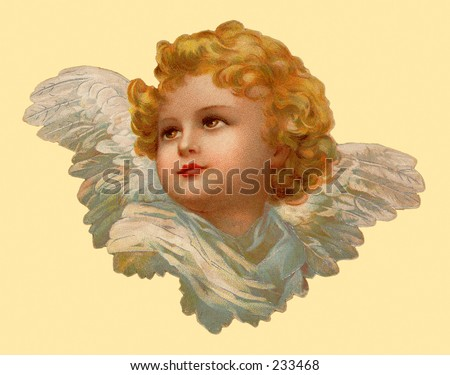 Christmas angel - an 1899 vintage greeting card illustration