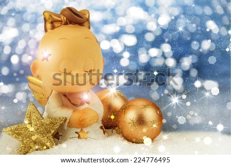 Christmas angel on golden background. - stock photo
