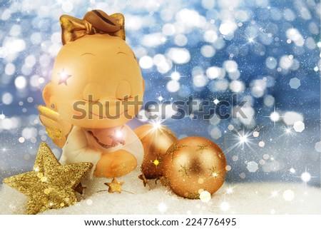 Christmas angel on golden background. - stock photo