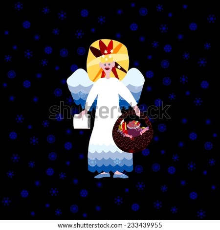 Christmas angel with book of good deeds and basket with sweets on dark background - stock photo