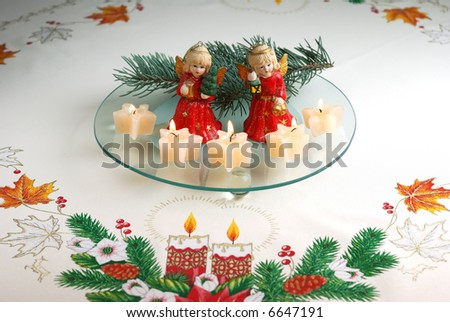 Christmas angels decorations on crumb-cloth - stock photo