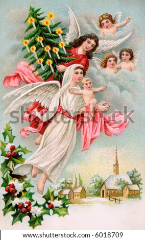 Christmas Angels with Christ child & evergreen tree - a 1910 Swedish vintage illustration - stock photo
