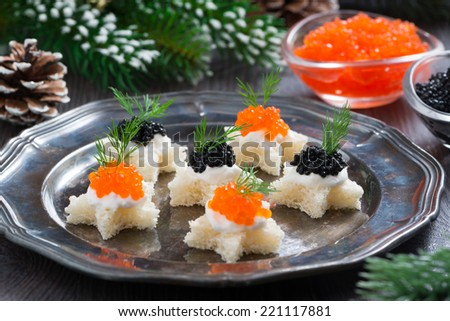 Christmas appetizers with caviar, selective focus, horizontal - stock photo