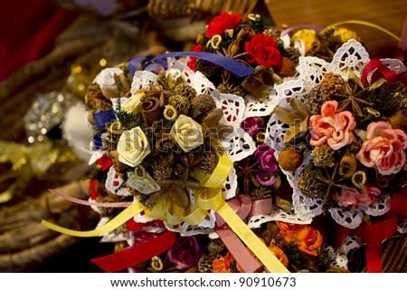 Christmas aromatic decorations - vanilla, cinnamon,etc. - stock photo