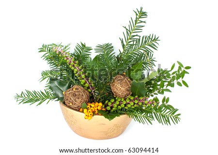 Christmas arrangement with pine tree branches and decorations. Available space for text - stock photo