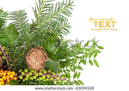 Christmas arrangement with pine tree branches and decorations. Available space for text. - stock photo