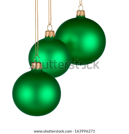 Christmas arrangement with three green baubles on pure white background for your text or design - stock photo