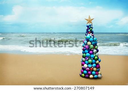 Christmas at the beach - stock photo
