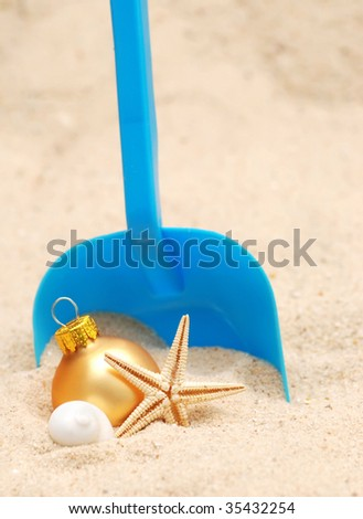 Christmas at the beach - concept of a warm weather xmas - stock photo