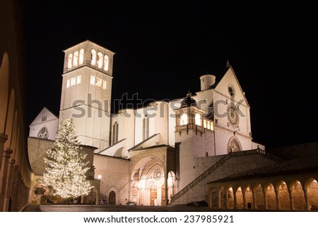Christmas atmosphere in Assisi, Umbria. - stock photo