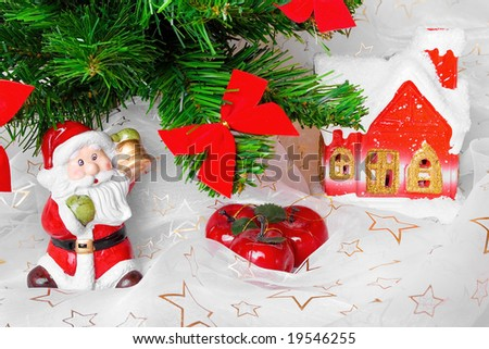 Christmas atmosphere with Santa and lighting house